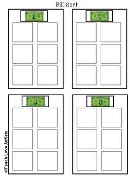BILLS ONLY - Money Work Tasks or File Folders
