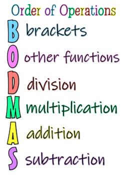 BIMDAS - BODMAS - PEDMAS poster