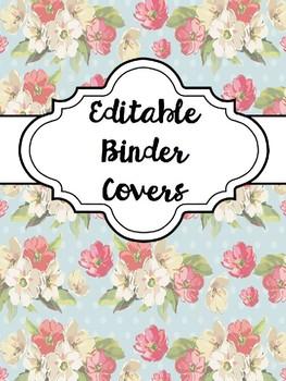 BINDER COVERS - FLORAL - EDITABLE