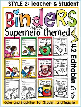 BINDER COVERS: EDITABLE: SUPERHERO THEME