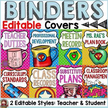 SUPERHERO CLASS DECOR: EDITABLE BINDER COVERS