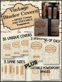 BINDER COVERS - EDITABLE - VINTAGE THEME - PRINT AND GO!