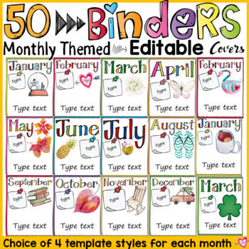 BINDER COVERS: MONTHLY THEMED: EDITABLE