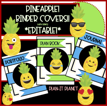BINDER COVERS Plan Book, Journals, Etc.-PINEAPPLE Themed **EDITABLE**