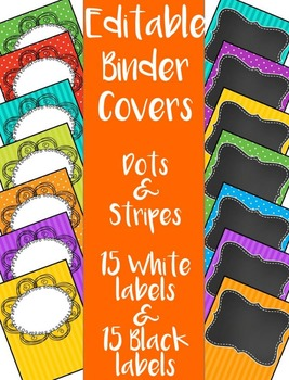 BINDER COVERS - Premade & Editable - Bright Dots and Stripes