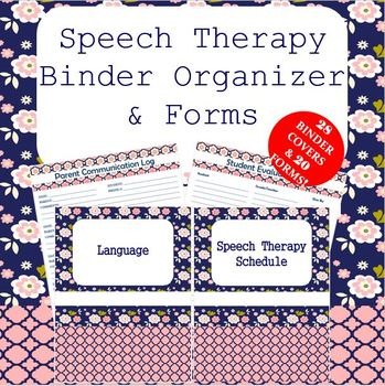 BINDER ORGANIZER AND FORMS FOR SPEECH THERAPY MODERN FLORAL PACK