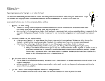 BING Lesson Planning Templates