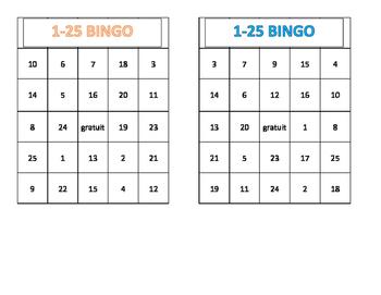 BINGO 1-25- French