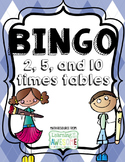 Times Tables Bingo, 2, 5, 10 facts