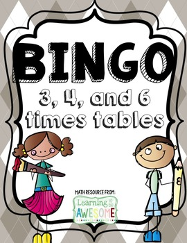 Times Tables Bingo, 3, 4, 5 facts