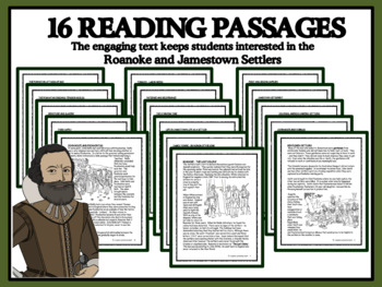 READING PASSAGES AND BINGO - Roanoke and Jamestown Settlers