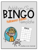 BINGO - Addition/Sums - Template - Halloween Themed