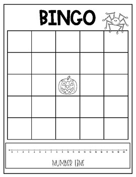 BINGO - Addition/Sums - Template - Halloween Themed