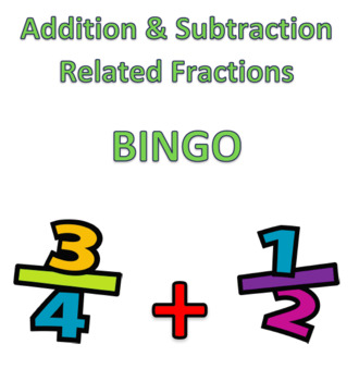BINGO - Addition and subtraction of related fractions