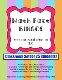 Math Fact Bingo! Mental Addition to 20 and Numeral Identification (CLASS SET!)