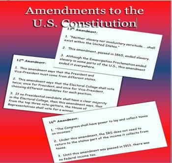 Amendments to U.S. Constitution  BINGO