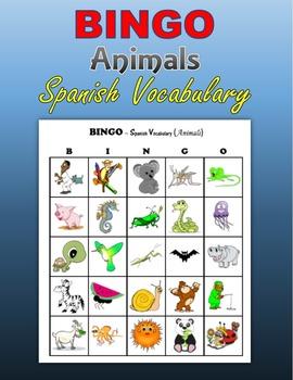 BINGO - Animals (Spanish Vocabulary)