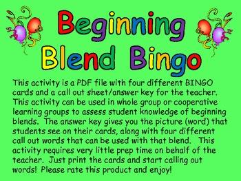BINGO!  Beginning Blends