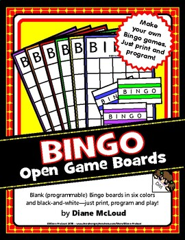BINGO Blank (Open) Game Boards and Call Cards - Quick & Easy!