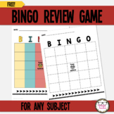 BINGO Board Review Game Freebie for Use with Any Subject