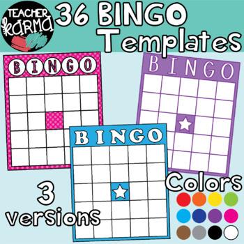 BINGO Board Templates: Rainbow Colors Clipart BUNDLE
