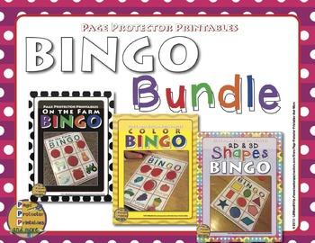 Prekindergarten Bingo Games 2D and 3D Shapes, Farm, and Co
