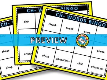 PHONICS BINGO: CH- WORDS BINGO: INITIAL SH WORDS GAME