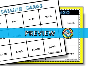 DIGRAPHS GAME: ENDING DIGRAPH BINGO GAME: -CH SOUND