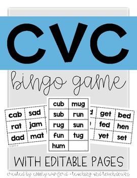 BINGO - CVC Fluency Game