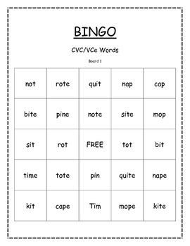 bingo cvc vce short and long vowels by miss barker 39 s teaching resources. Black Bedroom Furniture Sets. Home Design Ideas