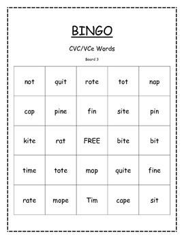 BINGO - CVC, VCe (Short and Long Vowels)