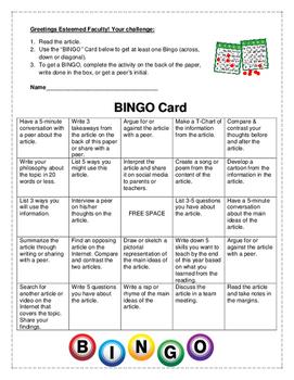 BINGO Card with Premade Activities for Staff Meetings & Pr