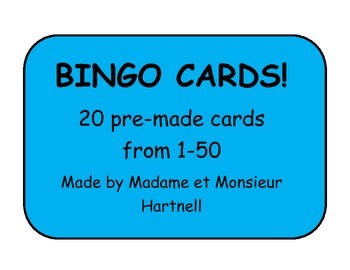 BINGO Cards - Numbers 1-50