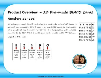 BINGO Cards - Numbers 51-100