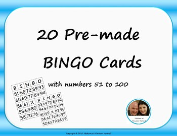 Pre-made BINGO Cards - Numbers 51-100