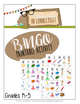BINGO Cards for the Art Room