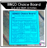 BINGO Choice Board ELA and Math Activities