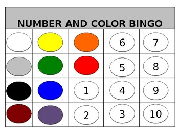 BINGO - Colors and Numbers 1 - 10