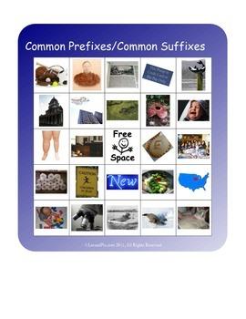 BINGO!  Common Prefixes, Common Suffixes