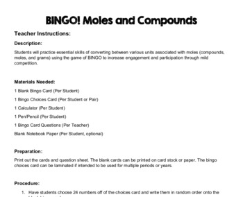 BINGO! Compounds and Moles