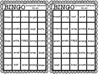 BINGO: Consonant Patterns kn, wr