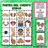 BINGO DE LAS PARTES DEL CUERPO WITH SINGULAR AND PLURAL BO