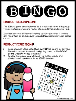 BINGO DIY Addition Sums to 10