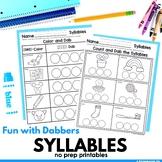 Syllables Phonics Worksheets