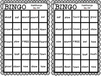 BINGO: Diphthongs ow, ou