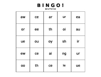 BINGO: Double Vowels and Digraphs