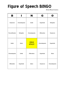 BINGO: Figures of Speech Challenging and Fun