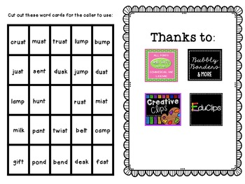 BINGO: Final Consonant Blends
