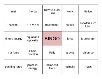 BINGO - Forces and Motion