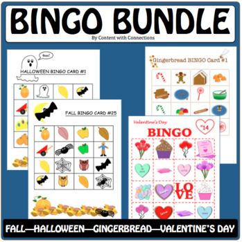 BINGO GAME BUNDLE: Fall/Halloween, Winter & Valentine's Parties
